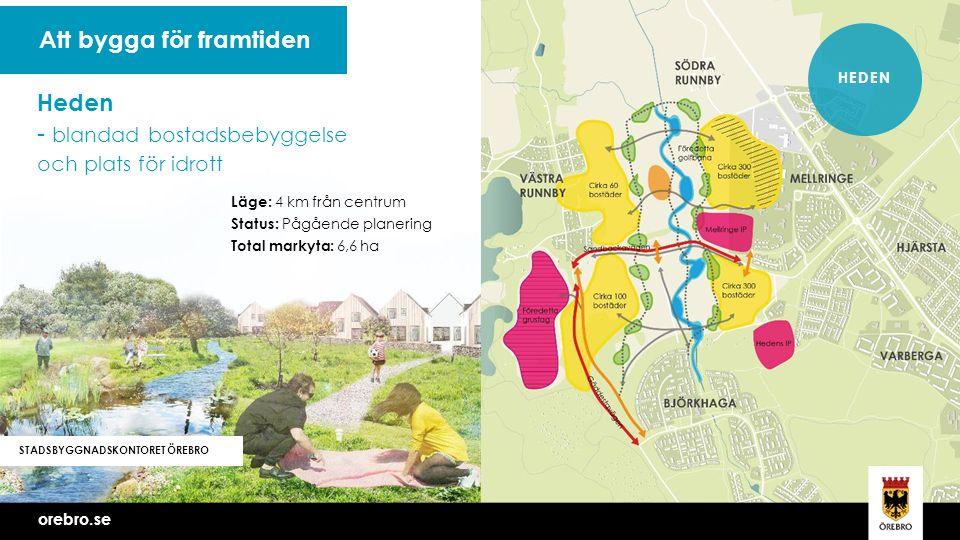 orebro.se Vi bygger Örebro tillsammans STADSBYGGNADSKONTORET ÖREBRO Att bygga för framtiden HEDEN orebro.se Läge: 4 km från centrum Status: Pågående planering Total markyta: 6,6 ha Heden - blandad bostadsbebyggelse och plats för idrott
