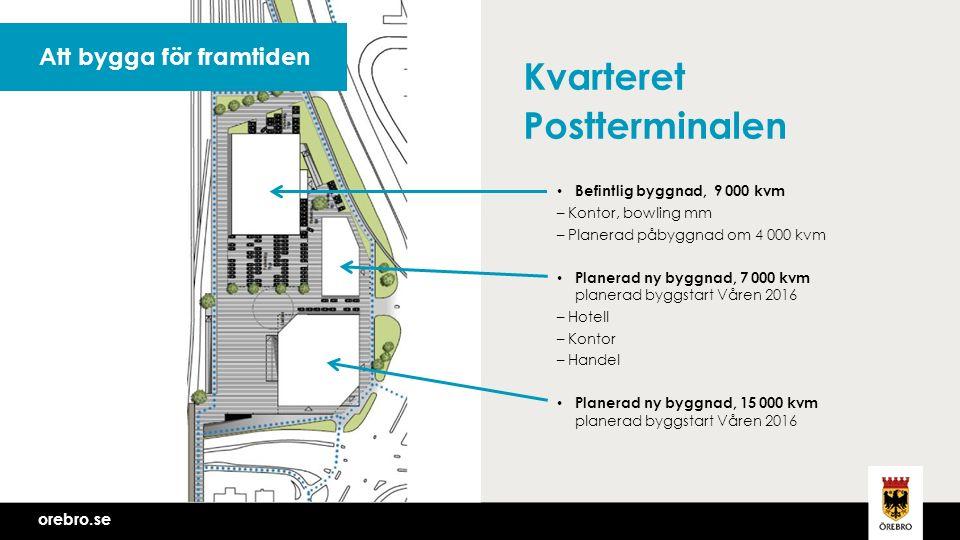 orebro.se Kvarteret Postterminalen Befintlig byggnad, 9 000 kvm – Kontor, bowling mm – Planerad påbyggnad om 4 000 kvm Planerad ny byggnad, 7 000 kvm planerad byggstart Våren 2016 – Hotell – Kontor – Handel Planerad ny byggnad, 15 000 kvm planerad byggstart Våren 2016 Att bygga för framtiden orebro.se