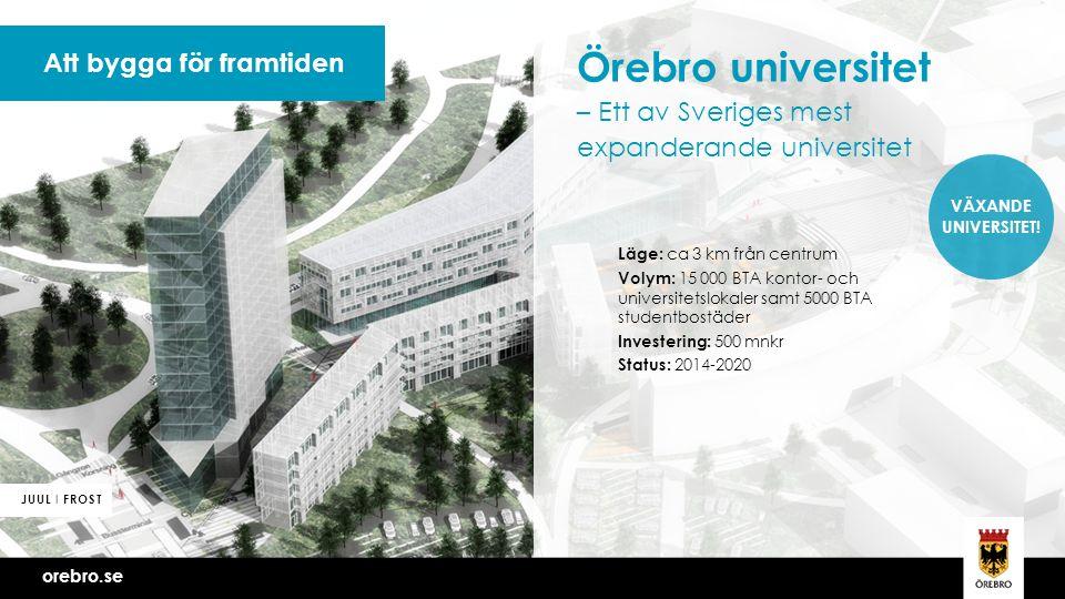 Vi bygger Örebro tillsammans Att bygga för framtiden Örebro universitet – Ett av Sveriges mest expanderande universitet Läge: ca 3 km från centrum Volym: 15 000 BTA kontor- och universitetslokaler samt 5000 BTA studentbostäder Investering: 500 mnkr Status: 2014-2020 orebro.se JUUL I FROST VÄXANDE UNIVERSITET!