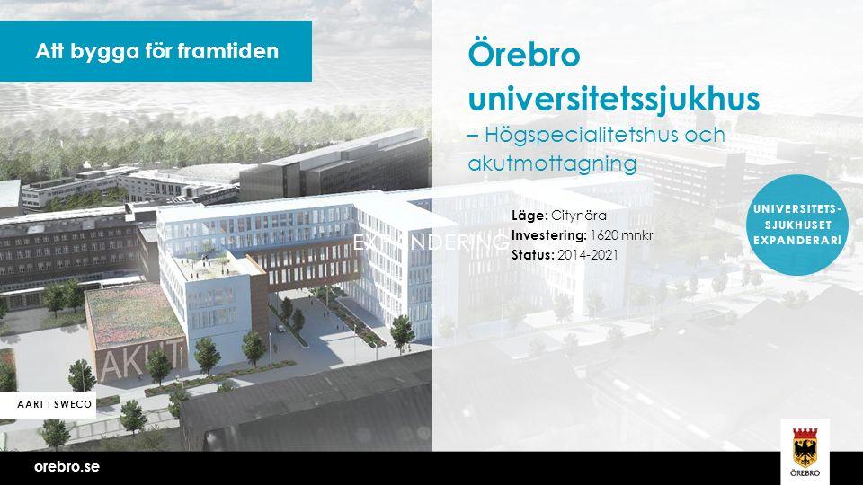 orebro.se Vi bygger Örebro tillsammans Att bygga för framtiden Örebro universitetssjukhus – Högspecialitetshus och akutmottagning Läge: Citynära Investering: 1620 mnkr Status: 2014-2021 orebro.se AART I SWECO UNIVERSITETS- SJUKHUSET EXPANDERAR.