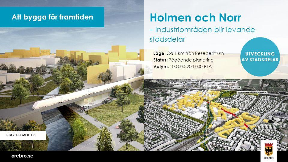 orebro.se Vi bygger Örebro tillsammans Att bygga för framtiden BERG I C.F MÖLLER Holmen och Norr – Industriområden blir levande stadsdelar Läge: Ca 1 km från Resecentrum Status: Pågående planering Volym: 100 000-200 000 BTA UTVECKLING AV STADSDELAR orebro.se