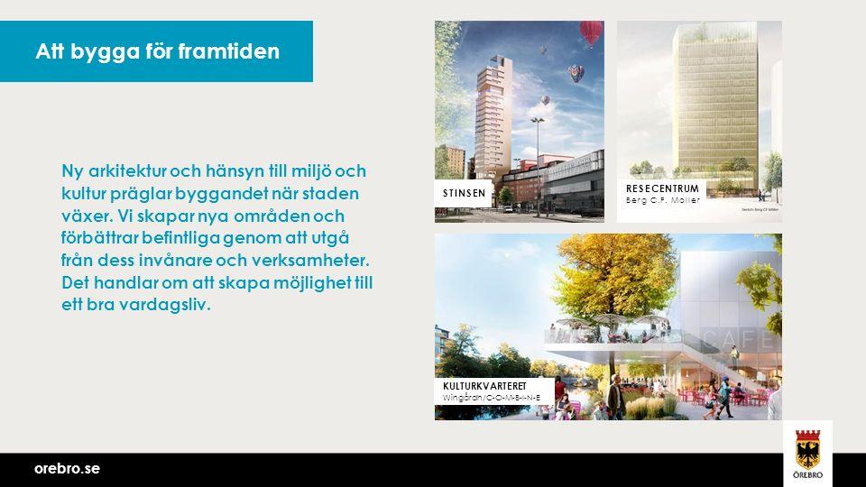 orebro.se Att bygga för framtiden orebro.se STINSEN KULTURKVARTERET Wingårdh/C-O-M-B-I-N-E Ny arkitektur och hänsyn till miljö och kultur präglar byggandet när staden växer.