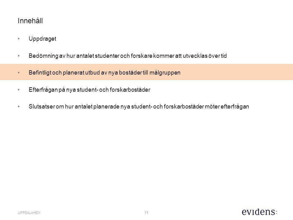12 UPPSALAHEM Det finns ca 12 000 studentbostäder till totalt ca 26 000 helårsstudenter i Uppsala.