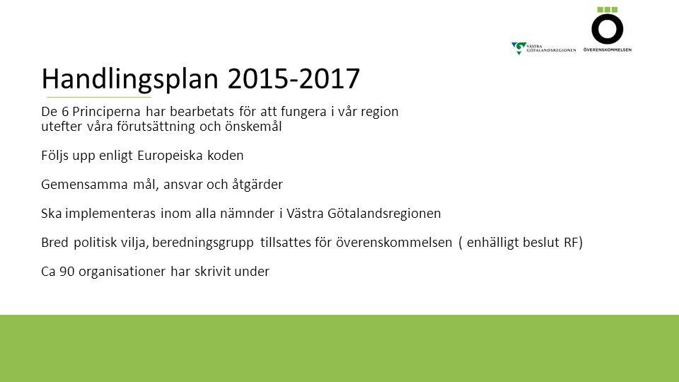 Handlingsplan 2015-2017 De 6 Principerna har bearbetats för att fungera i vår region utefter våra förutsättning och önskemål Följs upp enligt Europeis