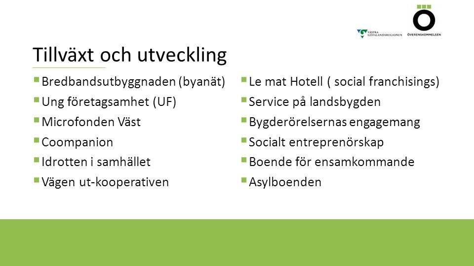 Tillväxt och utveckling  Bredbandsutbyggnaden (byanät)  Ung företagsamhet (UF)  Microfonden Väst  Coompanion  Idrotten i samhället  Vägen ut-koo