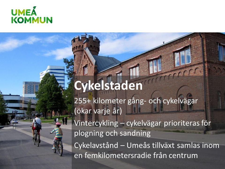 Cykelstaden 255+ kilometer gång- och cykelvägar (ökar varje år) Vintercykling – cykelvägar prioriteras för plogning och sandning Cykelavstånd – Umeås tillväxt samlas inom en femkilometersradie från centrum