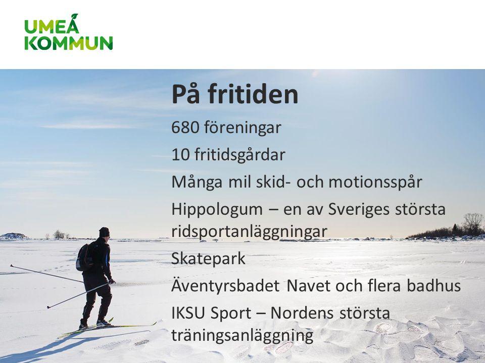 På fritiden 680 föreningar 10 fritidsgårdar Många mil skid- och motionsspår Hippologum – en av Sveriges största ridsportanläggningar Skatepark Äventyrsbadet Navet och flera badhus IKSU Sport – Nordens största träningsanläggning