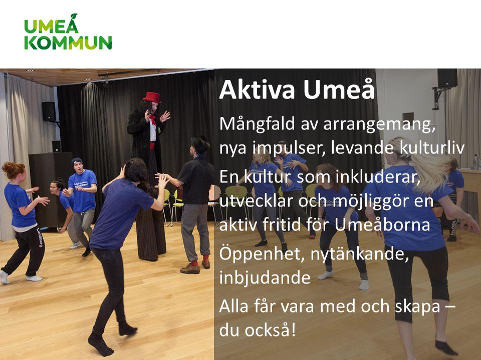 Aktiva Umeå Mångfald av arrangemang, nya impulser, levande kulturliv En kultur som inkluderar, utvecklar och möjliggör en aktiv fritid för Umeåborna Öppenhet, nytänkande, inbjudande Alla får vara med och skapa – du också!