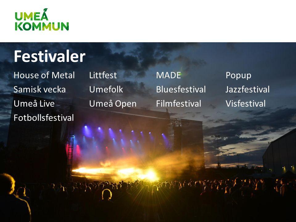 Festivaler House of MetalLittfestMADEPopup Samisk veckaUmefolkBluesfestivalJazzfestival Umeå LiveUmeå OpenFilmfestivalVisfestival Fotbollsfestival