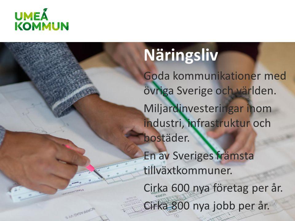 Näringsliv Goda kommunikationer med övriga Sverige och världen.