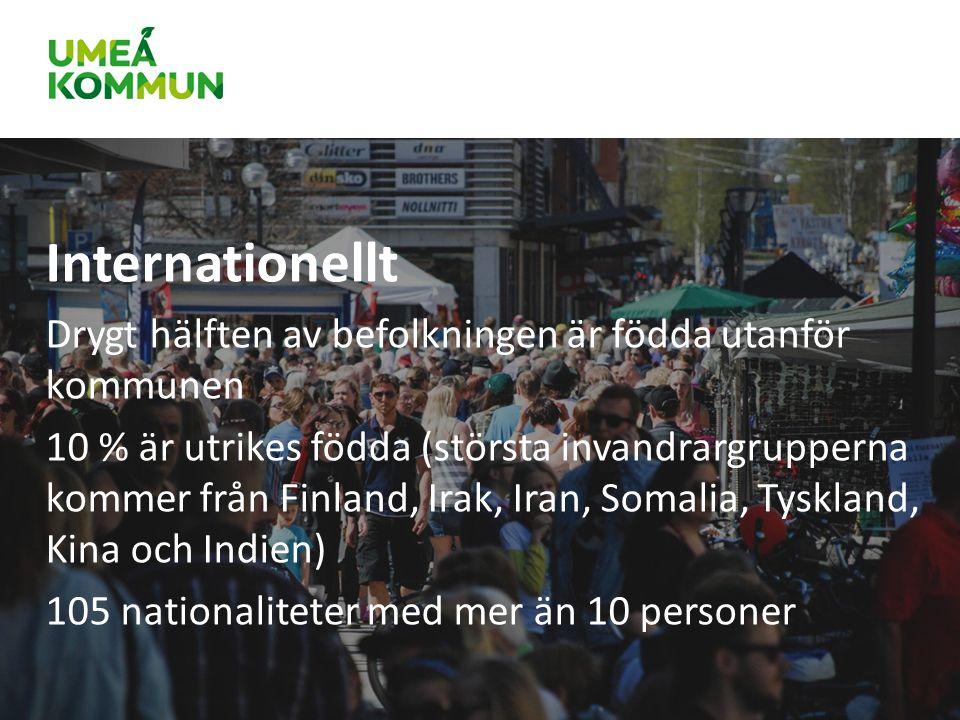 Internationellt Drygt hälften av befolkningen är födda utanför kommunen 10 % är utrikes födda (största invandrargrupperna kommer från Finland, Irak, Iran, Somalia, Tyskland, Kina och Indien) 105 nationaliteter med mer än 10 personer