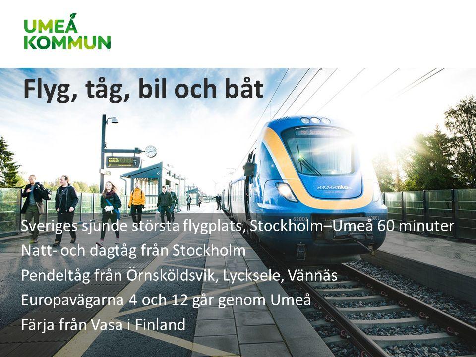 Sveriges sjunde största flygplats, Stockholm–Umeå 60 minuter Natt- och dagtåg från Stockholm Pendeltåg från Örnsköldsvik, Lycksele, Vännäs Europavägarna 4 och 12 går genom Umeå Färja från Vasa i Finland Flyg, tåg, bil och båt