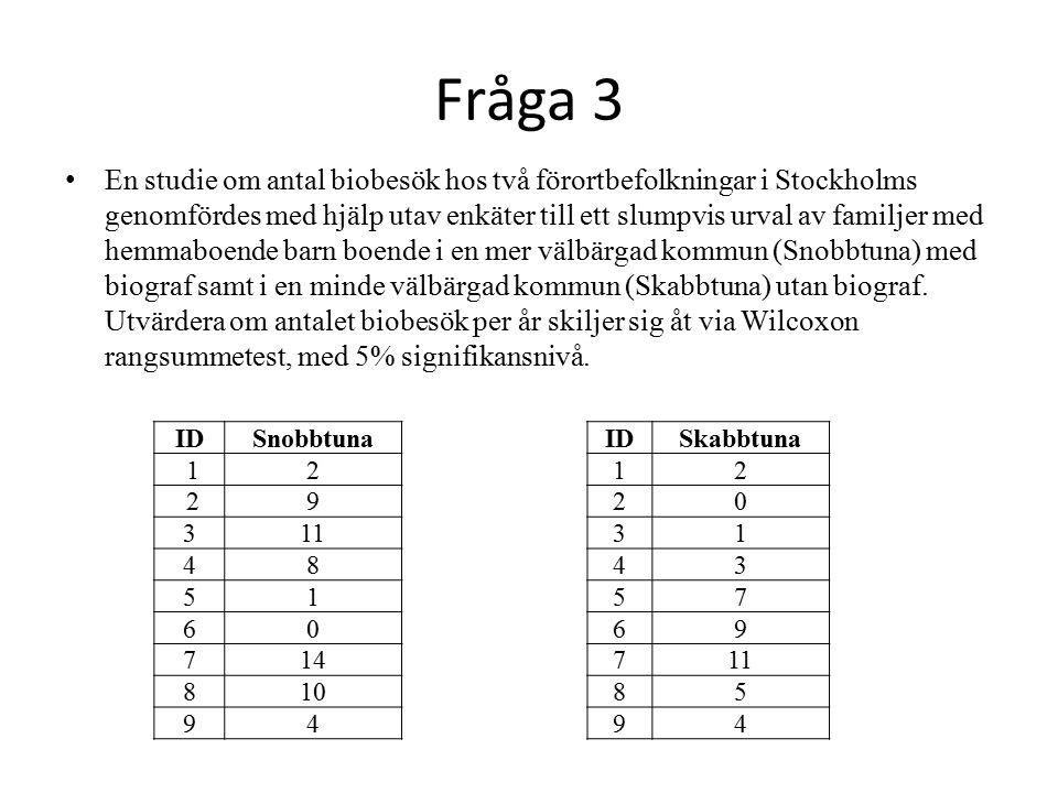 Fråga 3 En studie om antal biobesök hos två förortbefolkningar i Stockholms genomfördes med hjälp utav enkäter till ett slumpvis urval av familjer med hemmaboende barn boende i en mer välbärgad kommun (Snobbtuna) med biograf samt i en minde välbärgad kommun (Skabbtuna) utan biograf.