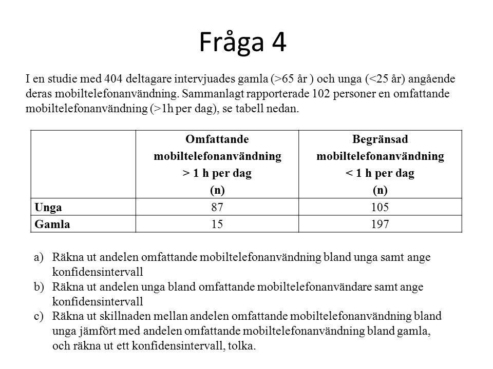 Fråga 4 I en studie med 404 deltagare intervjuades gamla (>65 år ) och unga ( 1h per dag), se tabell nedan.