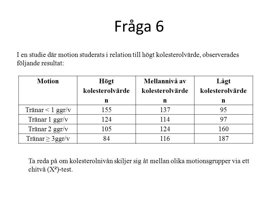 Fråga 6 I en studie där motion studerats i relation till högt kolesterolvärde, observerades följande resultat: Motion Högt kolesterolvärde n Mellannivå av kolesterolvärde n Lågt kolesterolvärde n Tränar < 1 ggr/v15513795 Tränar 1 ggr/v12411497 Tränar 2 ggr/v105124160 Tränar ≥ 3ggr/v84116187 Ta reda på om kolesterolnivån skiljer sig åt mellan olika motionsgrupper via ett chitvå (X ²) -test.
