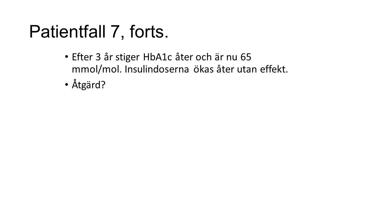 Patientfall 7, forts. Efter 3 år stiger HbA1c åter och är nu 65 mmol/mol.