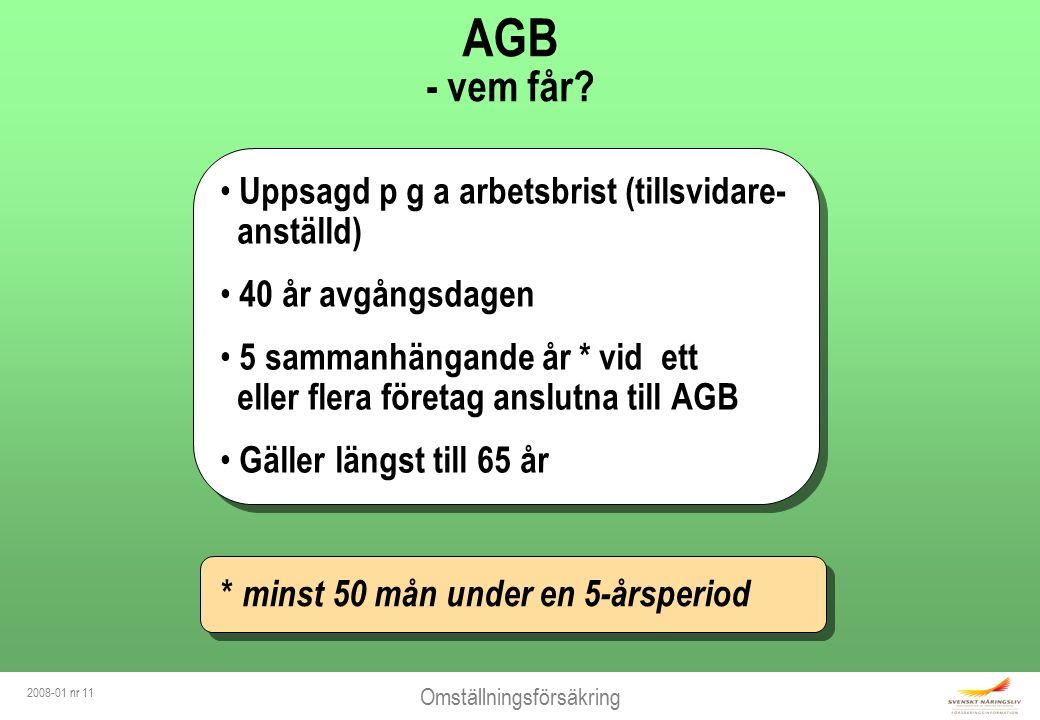 Omställningsförsäkring 2008-01 nr 11 AGB - vem får.