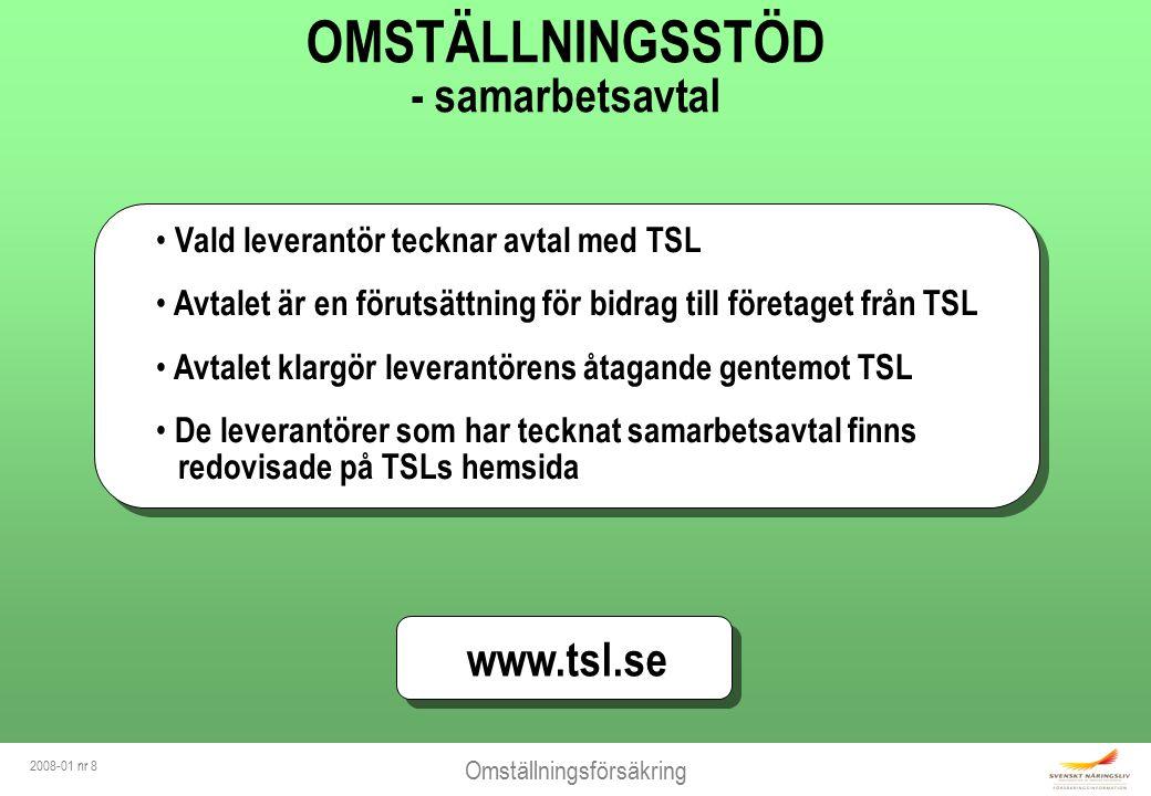Omställningsförsäkring 2008-01 nr 8 OMSTÄLLNINGSSTÖD - samarbetsavtal Vald leverantör tecknar avtal med TSL Avtalet är en förutsättning för bidrag till företaget från TSL Avtalet klargör leverantörens åtagande gentemot TSL De leverantörer som har tecknat samarbetsavtal finns redovisade på TSLs hemsida Vald leverantör tecknar avtal med TSL Avtalet är en förutsättning för bidrag till företaget från TSL Avtalet klargör leverantörens åtagande gentemot TSL De leverantörer som har tecknat samarbetsavtal finns redovisade på TSLs hemsida www.tsl.se