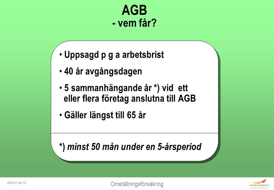 Omställningsförsäkring 2006-01 sid 12 AGB - vem får? Uppsagd p g a arbetsbrist 40 år avgångsdagen 5 sammanhängande år *) vid ett eller flera företag a