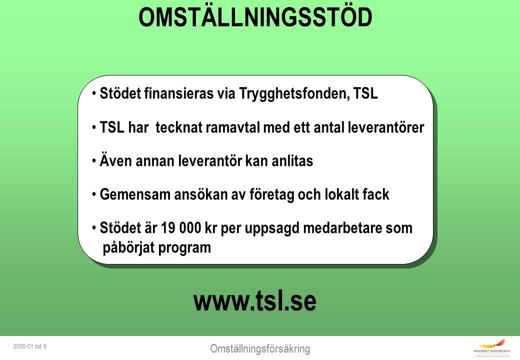 Omställningsförsäkring 2006-01 sid 6 Stödet finansieras via Trygghetsfonden, TSL TSL har tecknat ramavtal med ett antal leverantörer Även annan levera