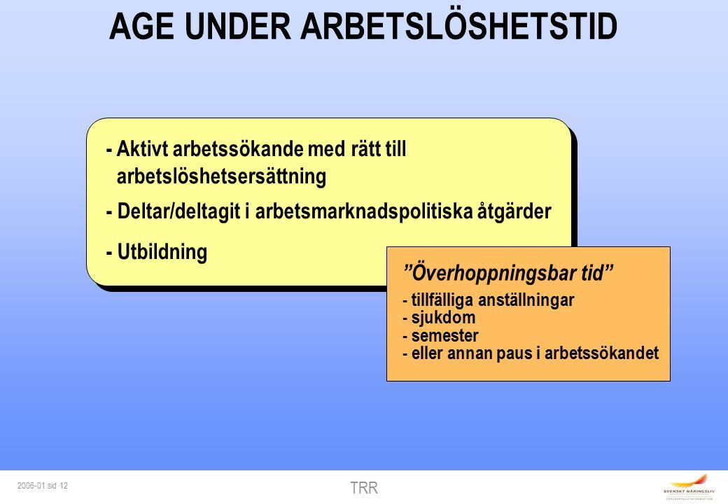 TRR 2006-01 sid 12 AGE UNDER ARBETSLÖSHETSTID - Aktivt arbetssökande med rätt till arbetslöshetsersättning - Deltar/deltagit i arbetsmarknadspolitiska