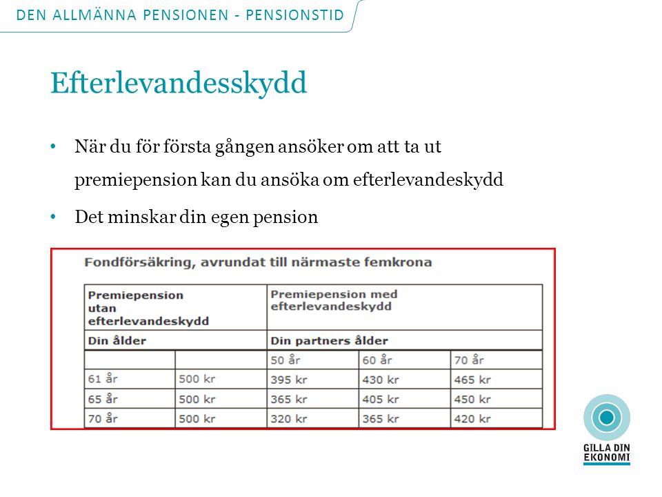 DEN ALLMÄNNA PENSIONEN - PENSIONSTID Omräkning av pension Sker varje årsskifte Inkomst- och tilläggspension följer löneutvecklingen minus 1,6 procent (normen) Premiepensionen följer värdet på dina fonder Garantipensionen följer prisutvecklingen (PBB)