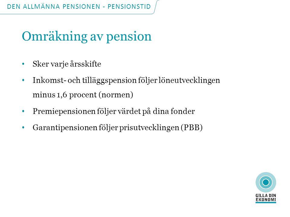 DEN ALLMÄNNA PENSIONEN - PENSIONSTID Balanstalet (bromsen) Tillgångarna (årliga pensionsavgifter + avkastningen på AP-fonderna) – Skulderna (framtida förväntade pensionsutbetalningar) = Balanstalet Balanstal högre än 1 = högre pension Balanstal lägre än 1 = lägre pension