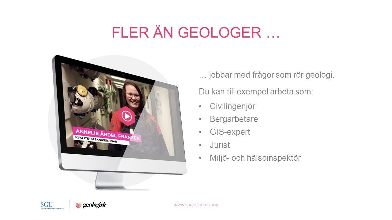 WWW.SGU.SE/GEOLOGISK FLER ÄN GEOLOGER … … jobbar med frågor som rör geologi.