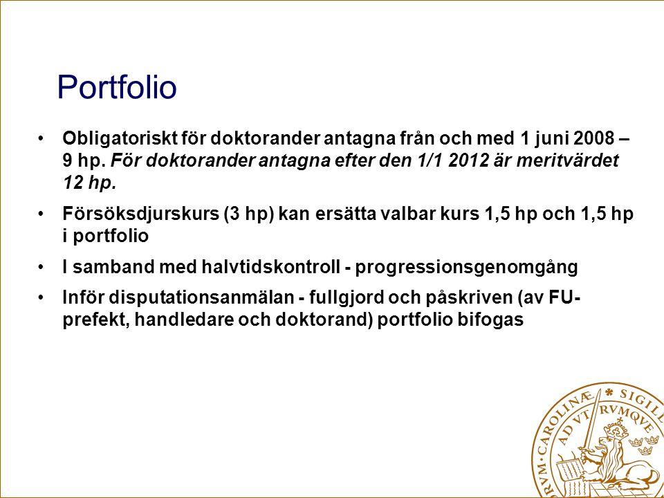 Portfolio Obligatoriskt för doktorander antagna från och med 1 juni 2008 – 9 hp. För doktorander antagna efter den 1/1 2012 är meritvärdet 12 hp. Förs