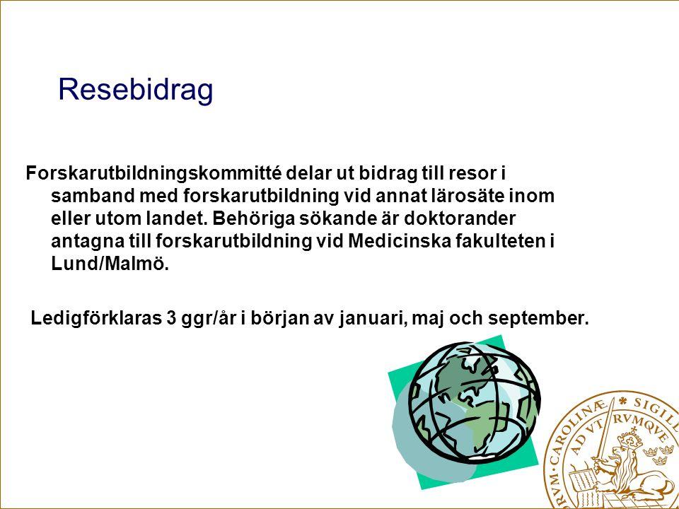 Resebidrag Forskarutbildningskommitté delar ut bidrag till resor i samband med forskarutbildning vid annat lärosäte inom eller utom landet.