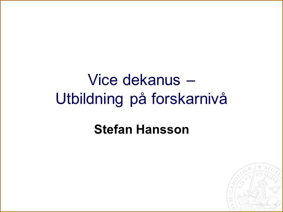 Vice dekanus – Utbildning på forskarnivå Stefan Hansson