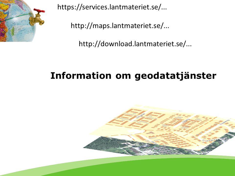 Agenda Geodatatjänst - grundläggande begrepp Tjänster inom geodatasamverkan Tjänster från Lantmäteriet