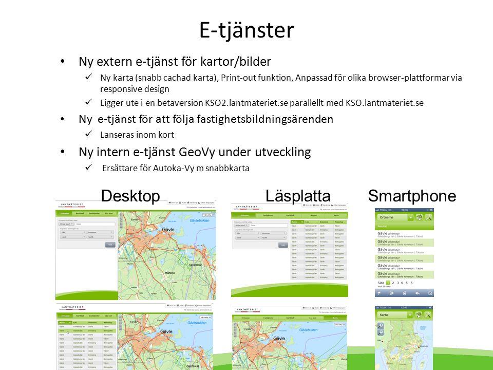 E-tjänster Ny extern e-tjänst för kartor/bilder Ny karta (snabb cachad karta), Print-out funktion, Anpassad för olika browser-plattformar via responsive design Ligger ute i en betaversion KSO2.lantmateriet.se parallellt med KSO.lantmateriet.se Ny e-tjänst för att följa fastighetsbildningsärenden Lanseras inom kort Ny intern e-tjänst GeoVy under utveckling Ersättare för Autoka-Vy m snabbkarta DesktopLäsplattaSmartphone