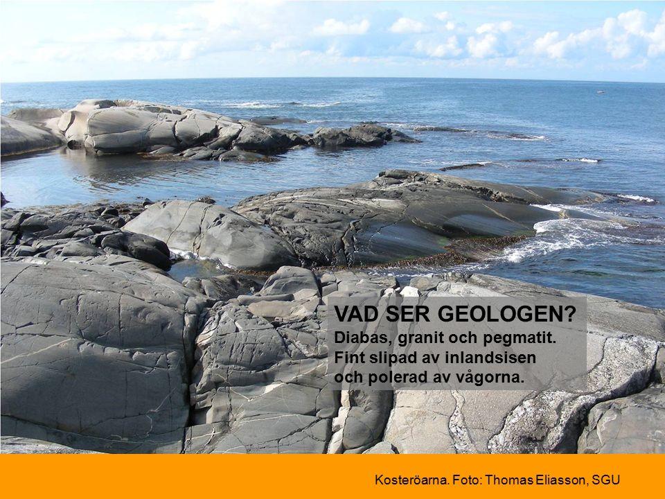 VAD SER GEOLOGEN Diabas, granit och pegmatit. Fint slipad av inlandsisen och polerad av vågorna.