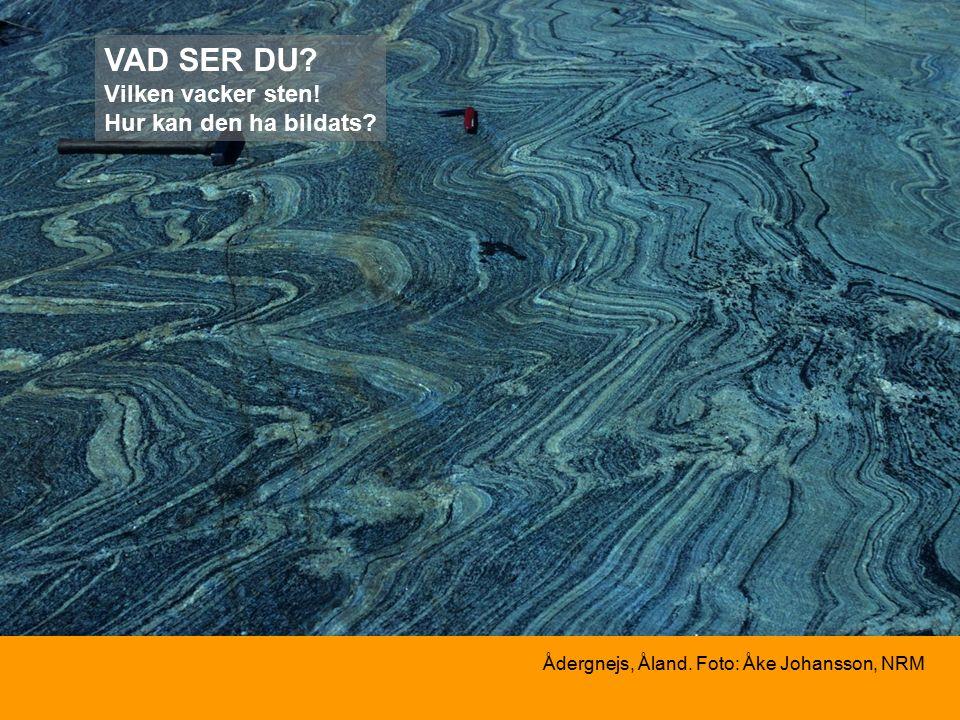Ådergnejs, Åland. Foto: Åke Johansson, NRM VAD SER DU Vilken vacker sten! Hur kan den ha bildats