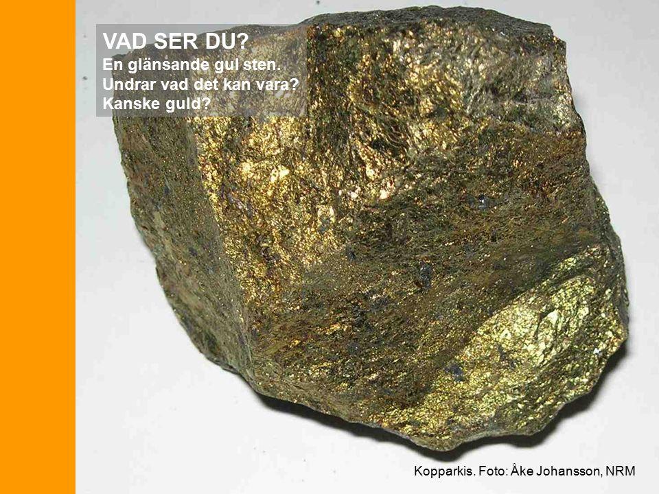 Kopparkis. Foto: Åke Johansson, NRM VAD SER DU. En glänsande gul sten.