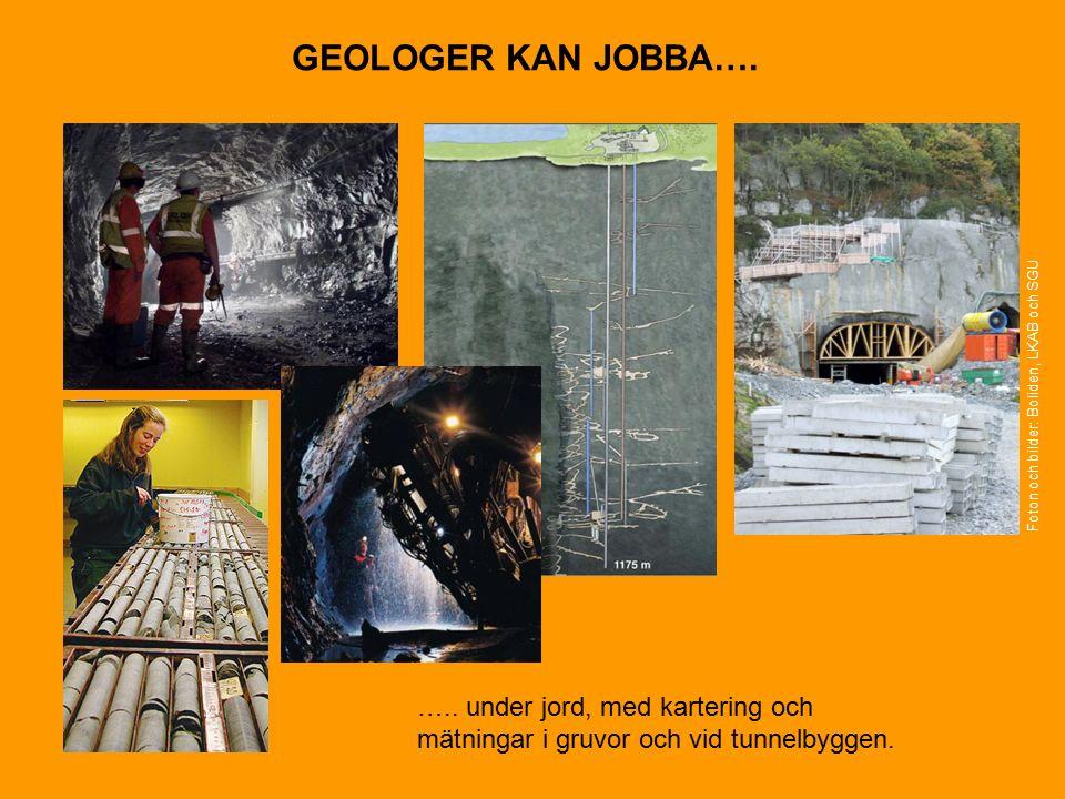 GEOLOGER KAN JOBBA…. ….. under jord, med kartering och mätningar i gruvor och vid tunnelbyggen.