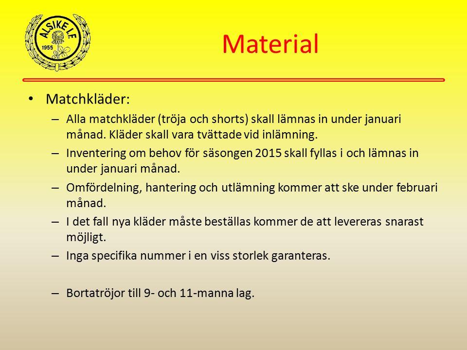 Material Matchkläder: – Alla matchkläder (tröja och shorts) skall lämnas in under januari månad. Kläder skall vara tvättade vid inlämning. – Inventeri