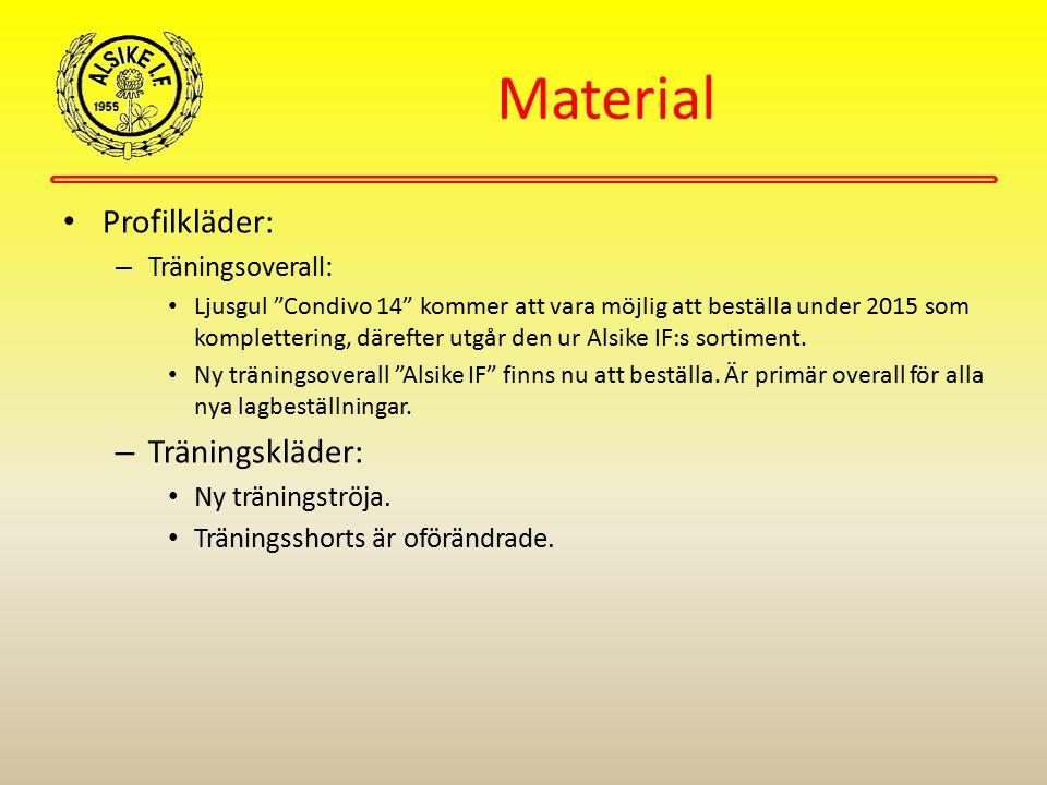 """Material Profilkläder: – Träningsoverall: Ljusgul """"Condivo 14"""" kommer att vara möjlig att beställa under 2015 som komplettering, därefter utgår den ur"""