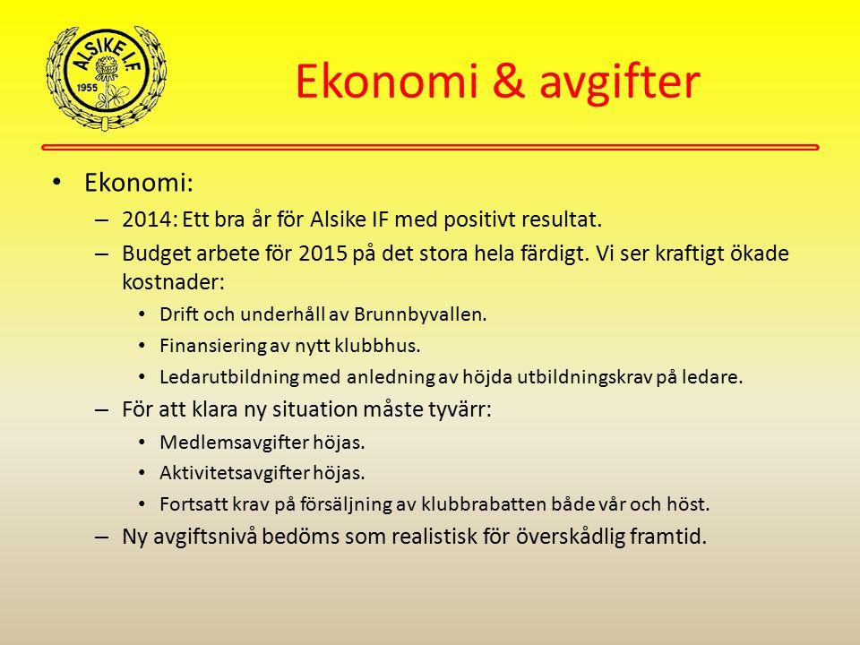Ekonomi & avgifter Ekonomi: – 2014: Ett bra år för Alsike IF med positivt resultat. – Budget arbete för 2015 på det stora hela färdigt. Vi ser kraftig
