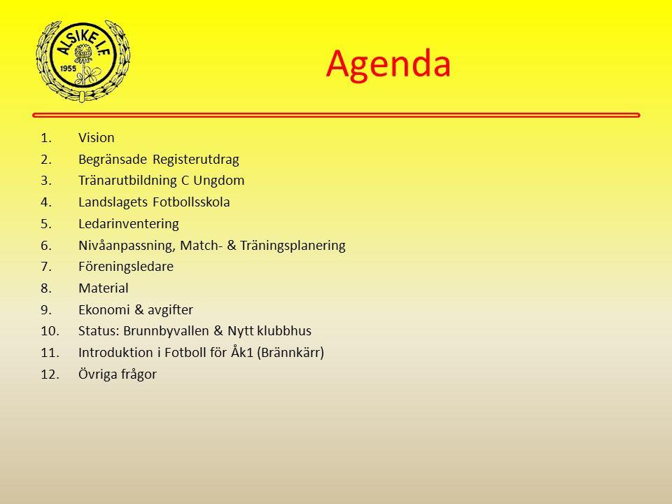 Agenda 1.Vision 2.Begränsade Registerutdrag 3.Tränarutbildning C Ungdom 4.Landslagets Fotbollsskola 5.Ledarinventering 6.Nivåanpassning, Match- & Trän