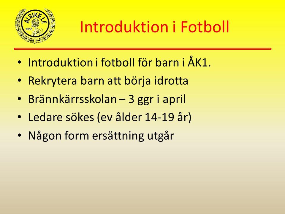 Introduktion i Fotboll Introduktion i fotboll för barn i ÅK1. Rekrytera barn att börja idrotta Brännkärrsskolan – 3 ggr i april Ledare sökes (ev ålder