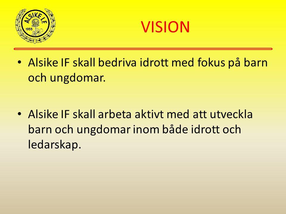 VISION Alsike IF skall bedriva idrott med fokus på barn och ungdomar. Alsike IF skall arbeta aktivt med att utveckla barn och ungdomar inom både idrot
