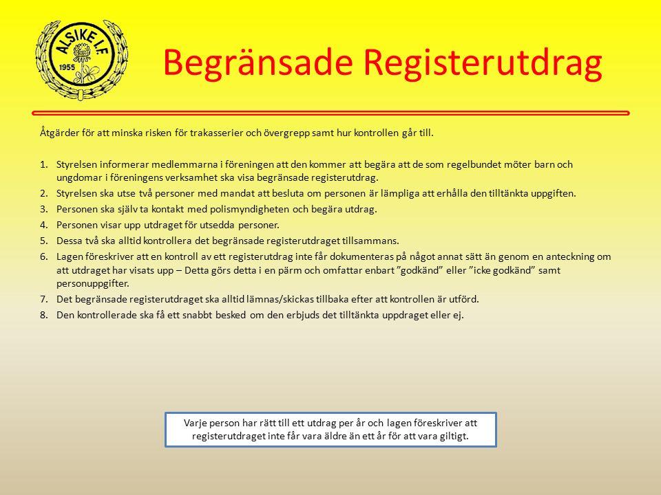 Begränsade Registerutdrag Åtgärder för att minska risken för trakasserier och övergrepp samt hur kontrollen går till. 1.Styrelsen informerar medlemmar