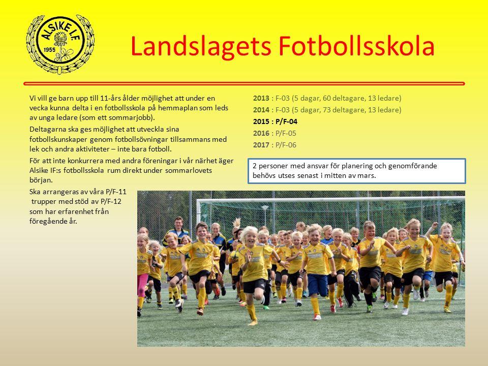 Landslagets Fotbollsskola Vi vill ge barn upp till 11-års ålder möjlighet att under en vecka kunna delta i en fotbollsskola på hemmaplan som leds av u