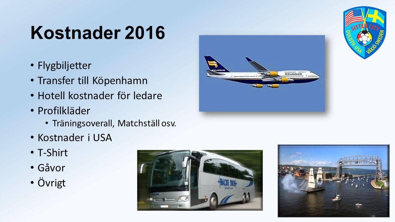 Kostnader 2016 Flygbiljetter Transfer till Köpenhamn Hotell kostnader för ledare Profilkläder Träningsoverall, Matchställ osv.