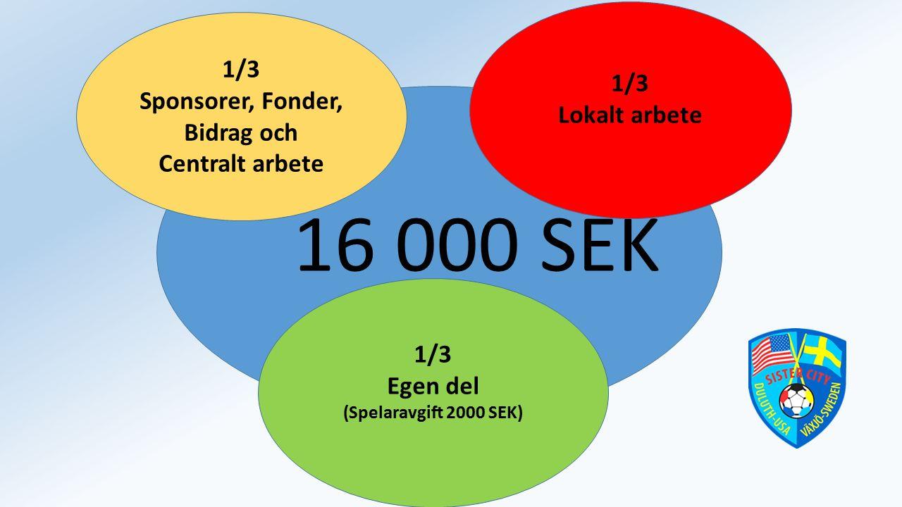 16 000 SEK 1/3 Egen del (Spelaravgift 2000 SEK) 1/3 Sponsorer, Fonder, Bidrag och Centralt arbete 1/3 Lokalt arbete