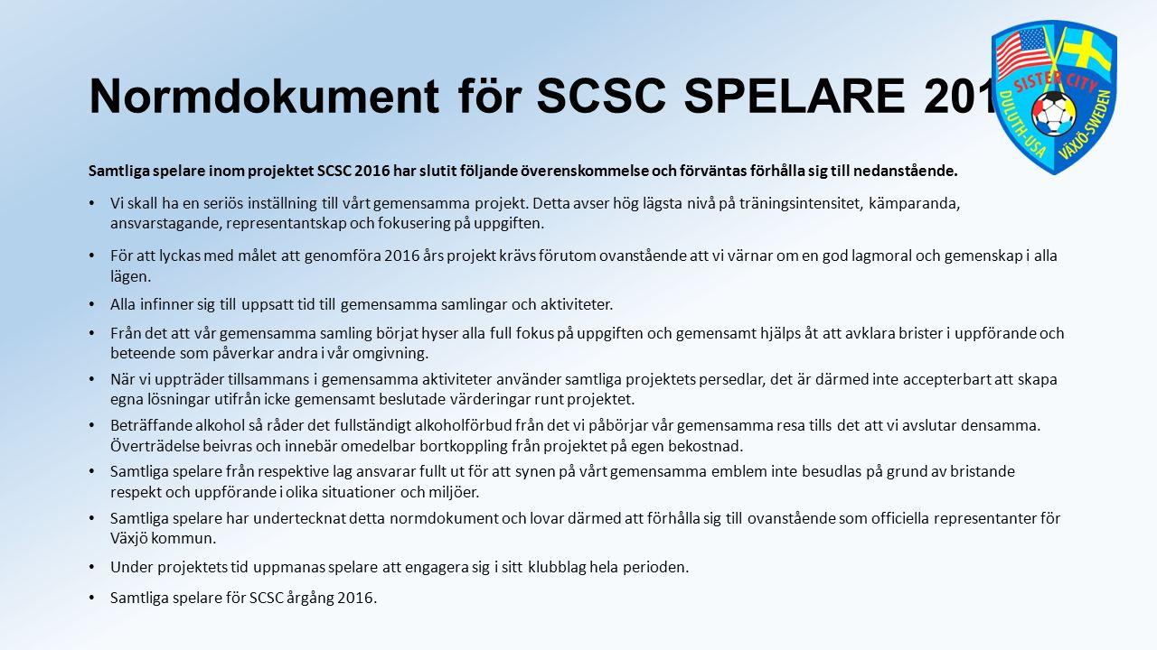 Normdokument för SCSC SPELARE 2016 Samtliga spelare inom projektet SCSC 2016 har slutit följande överenskommelse och förväntas förhålla sig till nedanstående.