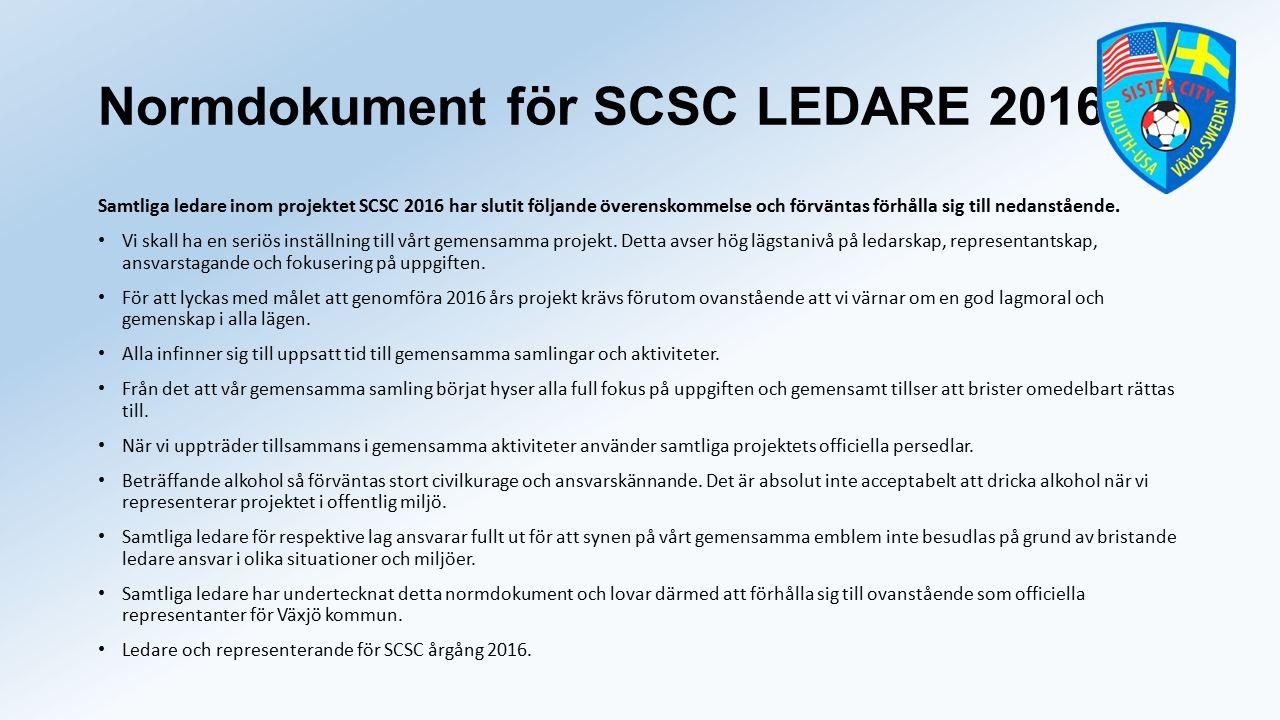 Normdokument för SCSC LEDARE 2016 Samtliga ledare inom projektet SCSC 2016 har slutit följande överenskommelse och förväntas förhålla sig till nedanstående.