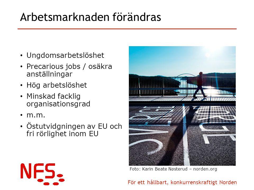 För ett hållbart, konkurrenskraftigt Norden Arbetsmarknaden förändras Ungdomsarbetslöshet Precarious jobs / osäkra anställningar Hög arbetslöshet Minskad facklig organisationsgrad m.m.